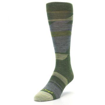 Image of Green Blue Geometric Wool Men's Lifestyle Socks (side-2-front-07)