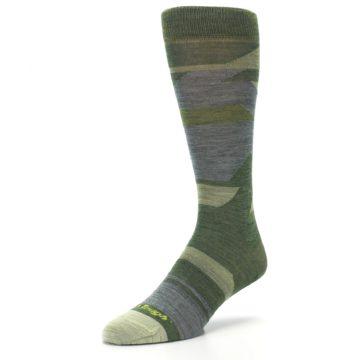 Image of Green Blue Geometric Wool Men's Lifestyle Socks (side-2-front-08)