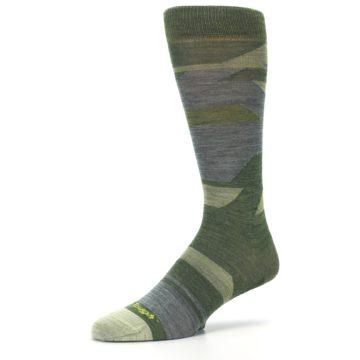 Image of Green Blue Geometric Wool Men's Lifestyle Socks (side-2-09)