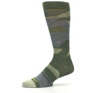 Image of Green Blue Geometric Wool Men's Lifestyle Socks (side-2-10)