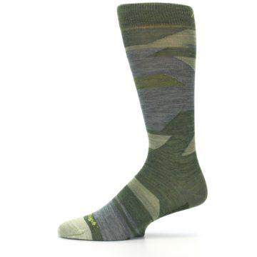 Image of Green Blue Geometric Wool Men's Lifestyle Socks (side-2-11)