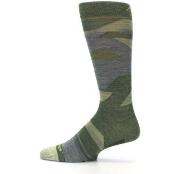 Image of Green Blue Geometric Wool Men's Lifestyle Socks (side-2-12)