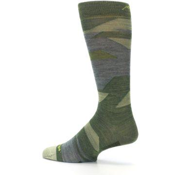 Image of Green Blue Geometric Wool Men's Lifestyle Socks (side-2-13)