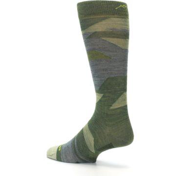 Image of Green Blue Geometric Wool Men's Lifestyle Socks (side-2-back-14)