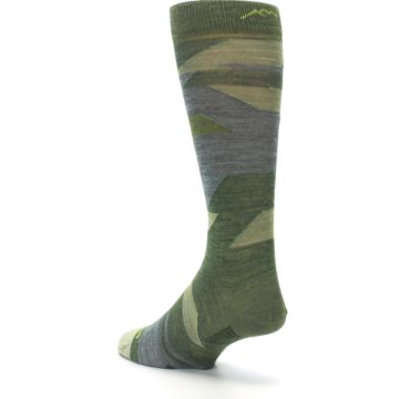 Image of Green Blue Geometric Wool Men's Lifestyle Socks (side-2-back-15)