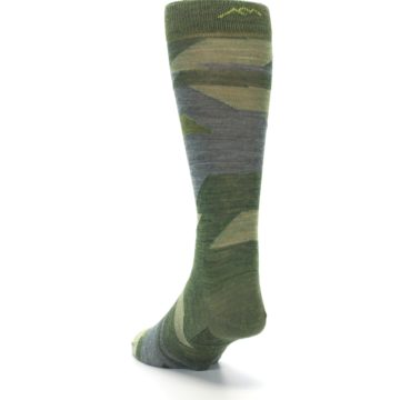 Image of Green Blue Geometric Wool Men's Lifestyle Socks (side-2-back-16)