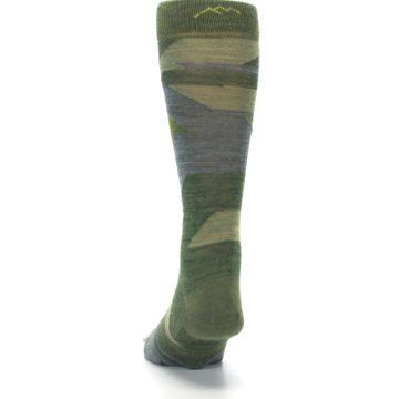 Image of Green Blue Geometric Wool Men's Lifestyle Socks (back-17)