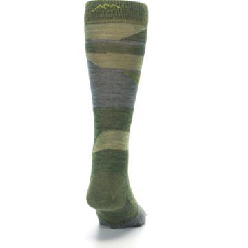 Image of Green Blue Geometric Wool Men's Lifestyle Socks (back-19)