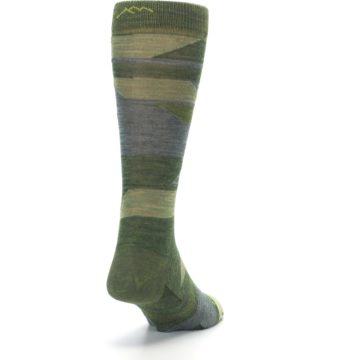 Image of Green Blue Geometric Wool Men's Lifestyle Socks (side-1-back-20)