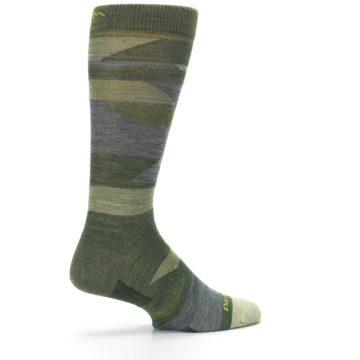 Image of Green Blue Geometric Wool Men's Lifestyle Socks (side-1-23)