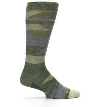 Image of Green Blue Geometric Wool Men's Lifestyle Socks (side-1-24)