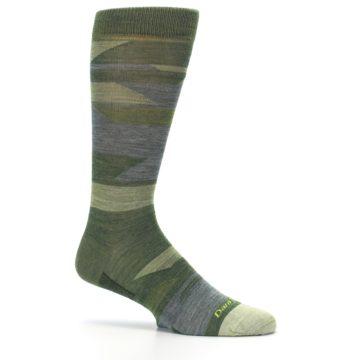 Image of Green Blue Geometric Wool Men's Lifestyle Socks (side-1-25)