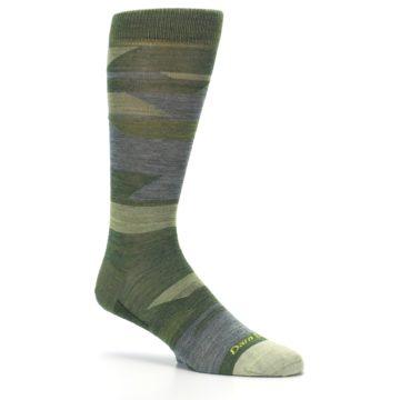 Image of Green Blue Geometric Wool Men's Lifestyle Socks (side-1-26)