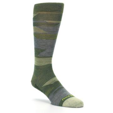 Image of Green Blue Geometric Wool Men's Lifestyle Socks (side-1-27)