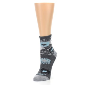 Image of Grey Blue Floral Wool Women's Socks (side-2-front-08)