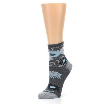 Image of Grey Blue Floral Wool Women's Socks (side-2-09)
