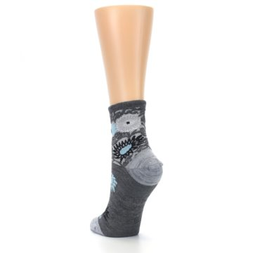 Image of Grey Blue Floral Wool Women's Socks (side-2-back-16)