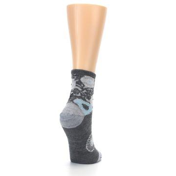 Image of Grey Blue Floral Wool Women's Socks (side-1-back-21)