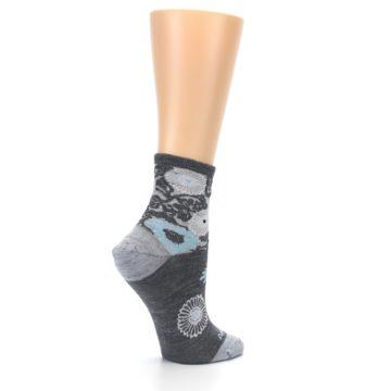 Image of Grey Blue Floral Wool Women's Socks (side-1-23)