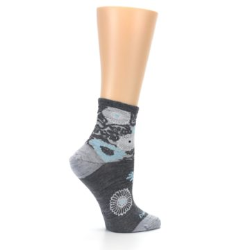 Image of Grey Blue Floral Wool Women's Socks (side-1-24)