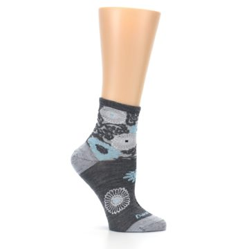 Image of Grey Blue Floral Wool Women's Socks (side-1-25)