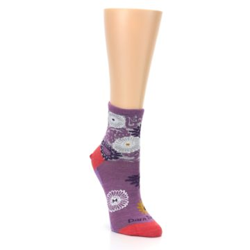 Image of Violet Grey Flowers Wool Women's Socks (side-1-front-02)