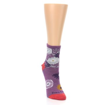 Image of Violet Grey Flowers Wool Women's Socks (side-1-front-03)