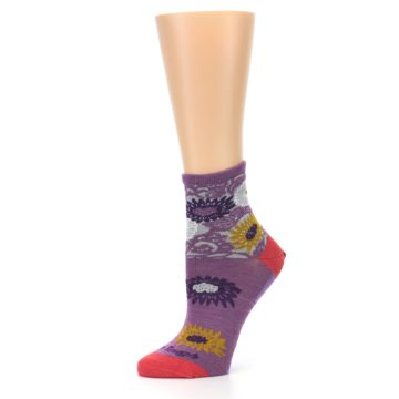 Image of Violet Grey Flowers Wool Women's Socks (side-2-10)