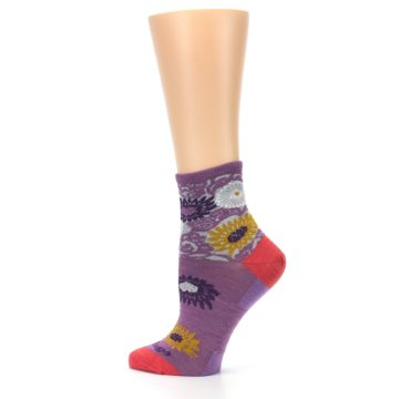Image of Violet Grey Flowers Wool Women's Socks (side-2-13)