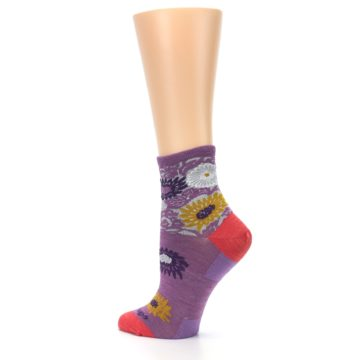 Image of Violet Grey Flowers Wool Women's Socks (side-2-back-14)