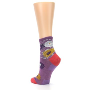 Image of Violet Grey Flowers Wool Women's Socks (side-2-back-15)