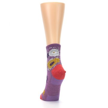 Image of Violet Grey Flowers Wool Women's Socks (back-17)