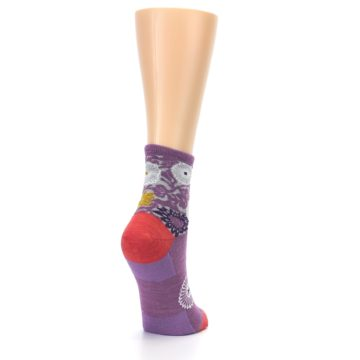 Image of Violet Grey Flowers Wool Women's Socks (side-1-back-21)