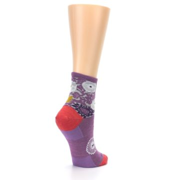 Image of Violet Grey Flowers Wool Women's Socks (side-1-back-22)