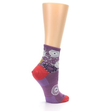 Image of Violet Grey Flowers Wool Women's Socks (side-1-23)