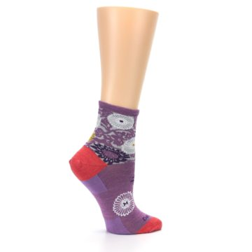 Image of Violet Grey Flowers Wool Women's Socks (side-1-24)