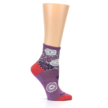 Image of Violet Grey Flowers Wool Women's Socks (side-1-25)
