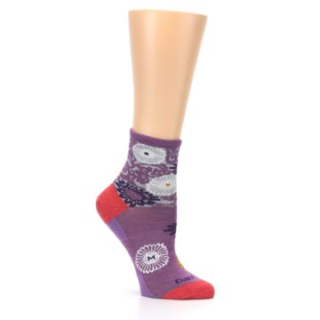 Image of Violet Grey Flowers Wool Women's Socks (side-1-26)