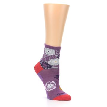 Image of Violet Grey Flowers Wool Women's Socks (side-1-27)