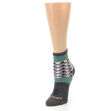 Image of Taupe Swirl Wool Women's Socks (side-2-front-08)
