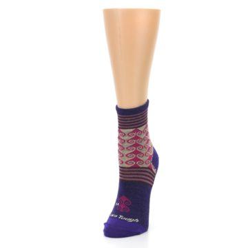 Image of Purple Pink Swirl Wool Women's Socks (side-2-front-07)