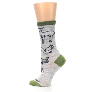 Image of Grey Green Animals Wool Women's Socks (side-2-13)