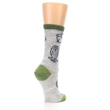 Image of Grey Green Animals Wool Women's Socks (side-1-back-22)