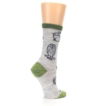 Image of Grey Green Animals Wool Women's Socks (side-1-23)