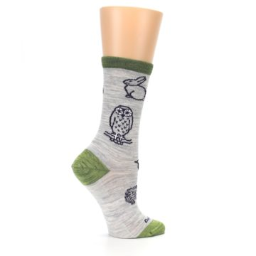 Image of Grey Green Animals Wool Women's Socks (side-1-24)
