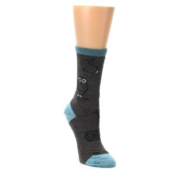 Image of Taupe Blue Women's Owl Dress Socks (side-1-front-02)