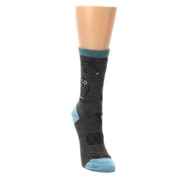Image of Taupe Blue Women's Owl Dress Socks (side-1-front-03)