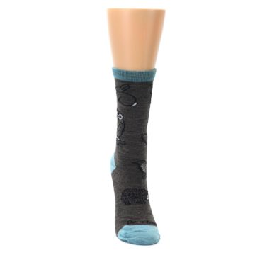Image of Taupe Blue Women's Owl Dress Socks (front-04)