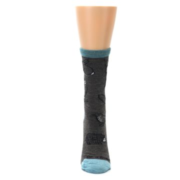 Image of Taupe Blue Women's Owl Dress Socks (front-05)