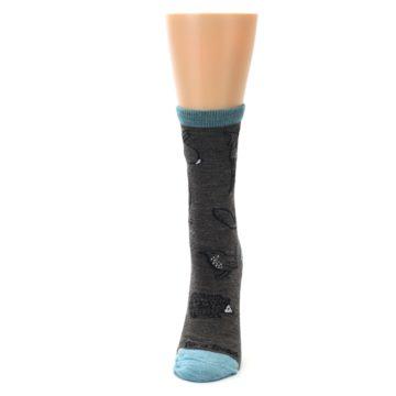 Image of Taupe Blue Women's Owl Dress Socks (side-2-front-06)